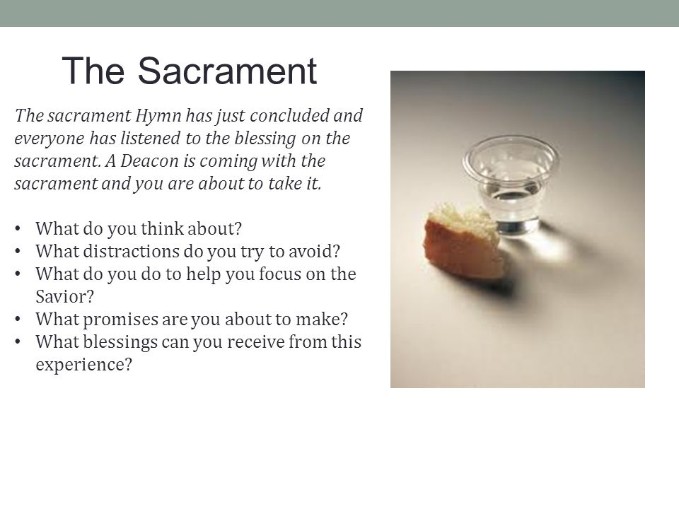 Moroni 6:5-6, 9 HANDBOOK 2, 18.2.2 Each sacrament meeting should be a spiritual experience in which members of the Church renew their covenants by partaking of the sacrament.