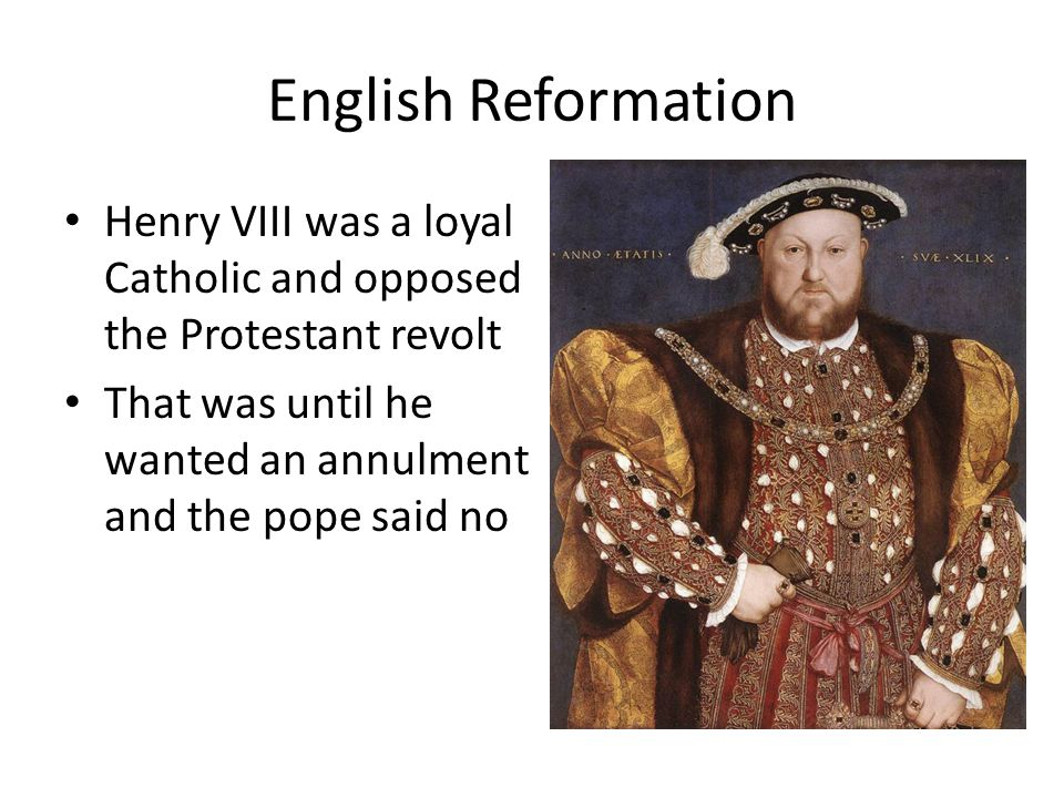 English Reformation Henry VIII was a loyal Catholic and opposed the Protestant revolt That was until he wanted an annulment and the pope said no