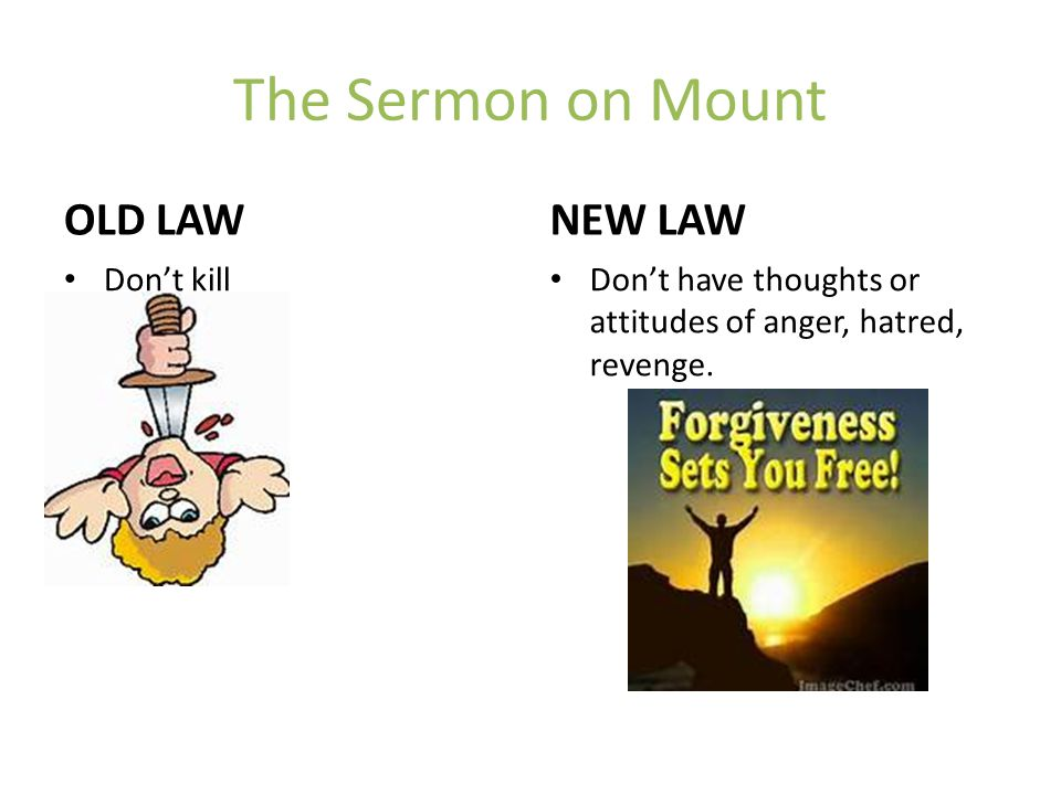 The Sermon on Mount OLD LAW Don't kill NEW LAW Don't have thoughts or attitudes of anger, hatred, revenge.