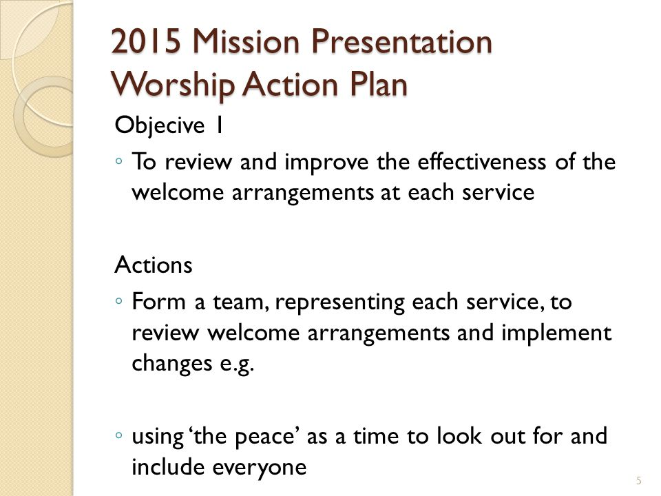 2015 Mission Presentation Community Action Plan Objective 2 To address the immediate needs of the poorest in our community by developing the existing support (weekly donations received) for Storehouse North Down, particularly to provide emergency supplies to households in Holywood.