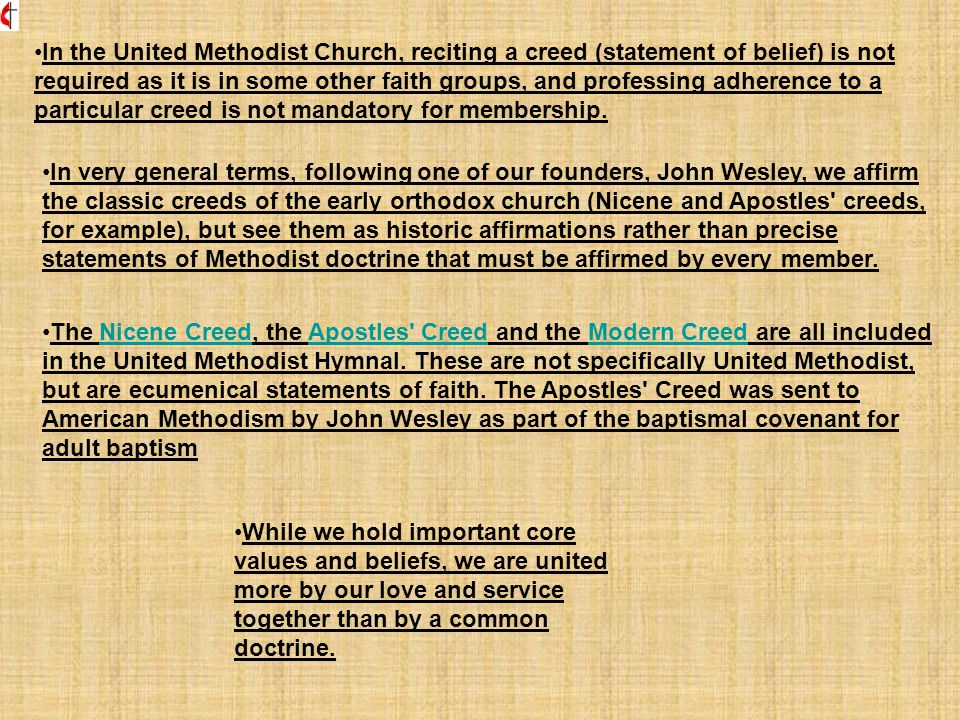Distinctive Wesleyan emphases While United Methodists share many things in common with other Christians, Wesley combined forms of grace also recognized by other Christians in a powerful manner to create distinctive emphases for living the full Christian life.