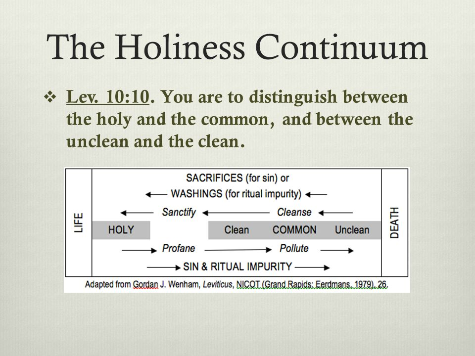 The Holiness Continuum  Lev. 10:10.
