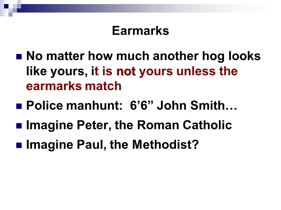 Earmarks not No matter how much another hog looks like yours, it is not yours unless the earmarks match Police manhunt: 6'6 John Smith… Imagine Peter, the Roman Catholic Imagine Paul, the Methodist?
