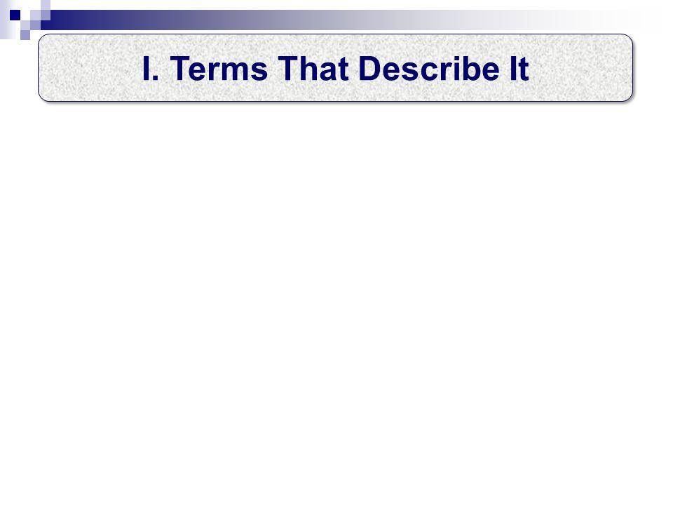 I.Terms That Describe It II. Where It Originated III.