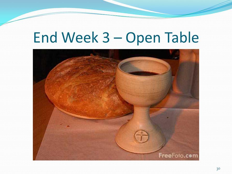 End Week 3 – Open Table 30
