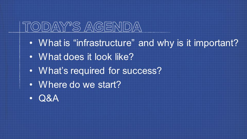 What is infrastructure and why is it important. What does it look like.