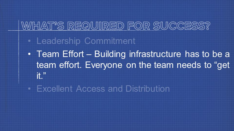 Leadership Commitment Team Effort – Building infrastructure has to be a team effort.