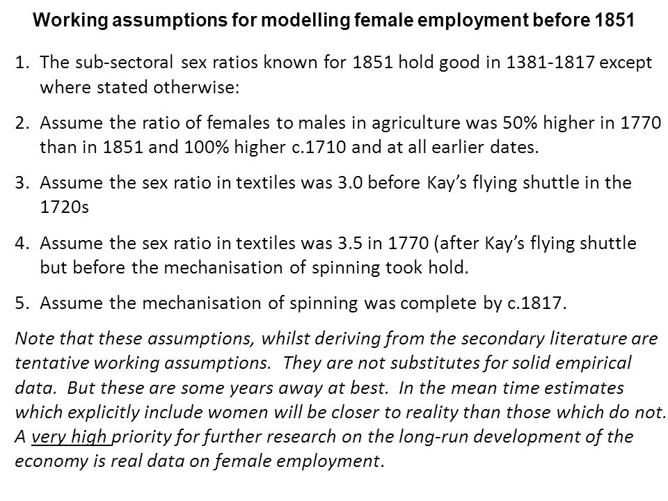 1.The sub-sectoral sex ratios known for 1851 hold good in 1381-1817 except where stated otherwise: 2.Assume the ratio of females to males in agriculture was 50% higher in 1770 than in 1851 and 100% higher c.1710 and at all earlier dates.