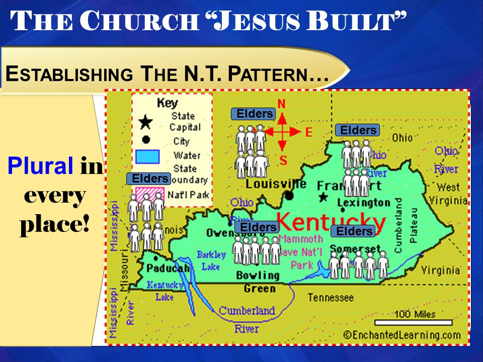 T HE C HURCH J ESUS B UILT E STABLISHING T HE N.T. P ATTERN … Plural in every place! Elders