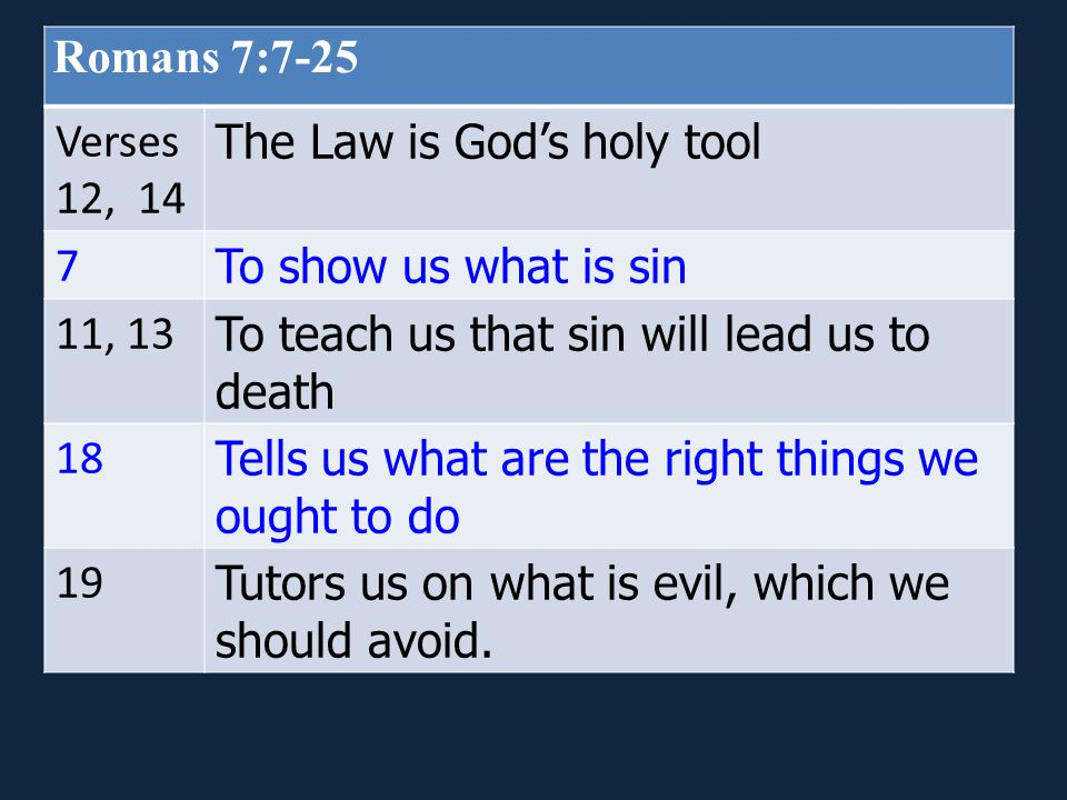 Romans 7:7-25 Verses 12, 14 The Law is God's holy tool 7 To show us what is sin 11, 13 To teach us that sin will lead us to death 18 Tells us what are the right things we ought to do 19 Tutors us on what is evil, which we should avoid.