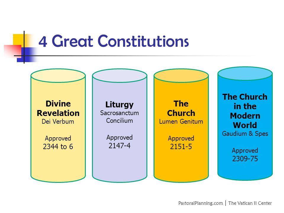 4 Great Constitutions Divine Revelation Dei Verbum Approved 2344 to 6 Liturgy Sacrosanctum Concilium Approved 2147-4 The Church Lumen Genitum Approved 2151-5 The Church in the Modern World Gaudium & Spes Approved 2309-75