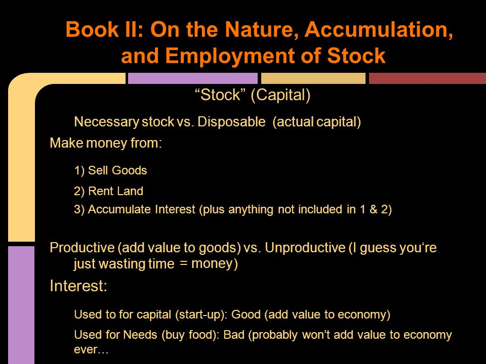 Stock (Capital) Necessary stock vs.