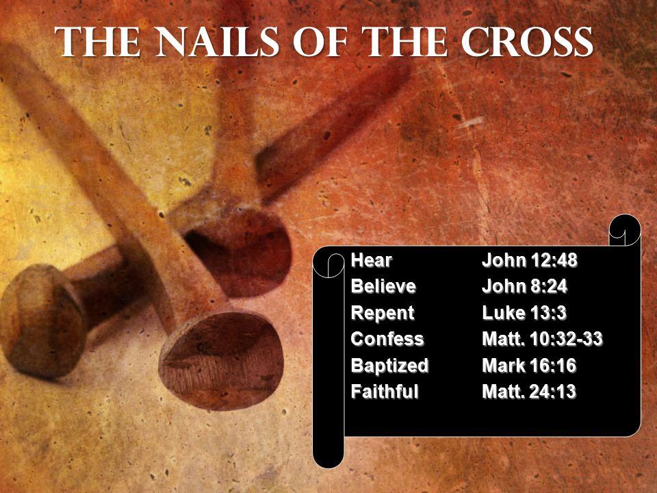 HearJohn 12:48 BelieveJohn 8:24 RepentLuke 13:3 ConfessMatt.