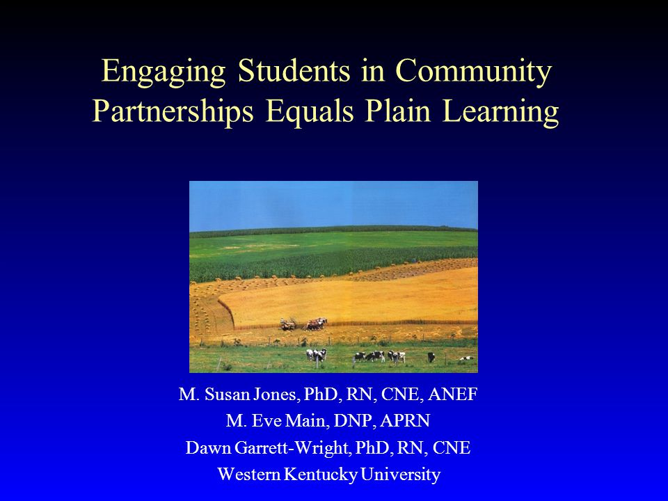 Engaging Students in Community Partnerships Equals Plain Learning M.