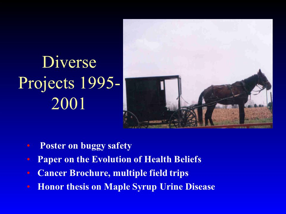 Diverse Projects 1995- 2001 Poster on buggy safety Paper on the Evolution of Health Beliefs Cancer Brochure, multiple field trips Honor thesis on Maple Syrup Urine Disease