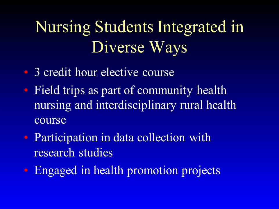 Nursing Students Integrated in Diverse Ways 3 credit hour elective course Field trips as part of community health nursing and interdisciplinary rural health course Participation in data collection with research studies Engaged in health promotion projects