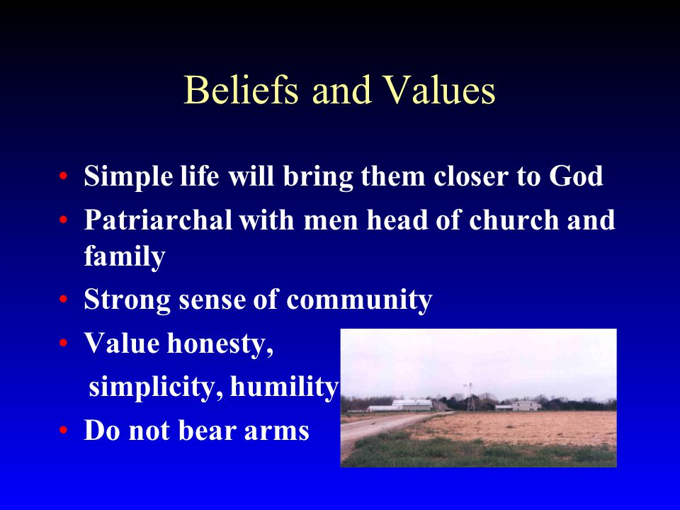 Beliefs and Values Simple life will bring them closer to God Patriarchal with men head of church and family Strong sense of community Value honesty, simplicity, humility Do not bear arms
