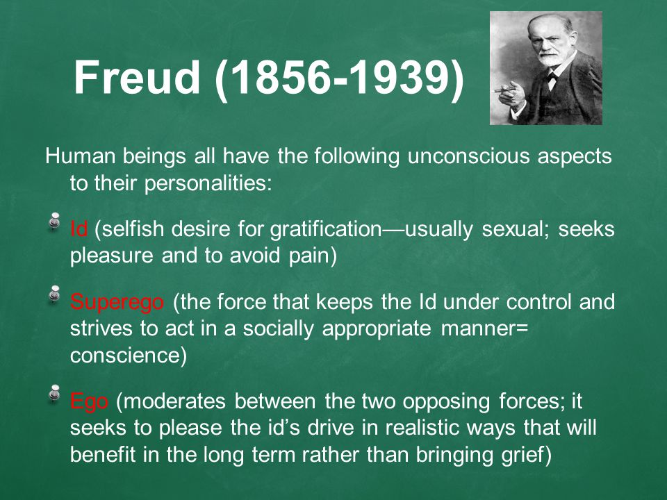 Freud (1856-1939) Human beings all have the following unconscious aspects to their personalities: Id (selfish desire for gratification—usually sexual; seeks pleasure and to avoid pain) Superego (the force that keeps the Id under control and strives to act in a socially appropriate manner= conscience) Ego (moderates between the two opposing forces; it seeks to please the id's drive in realistic ways that will benefit in the long term rather than bringing grief)