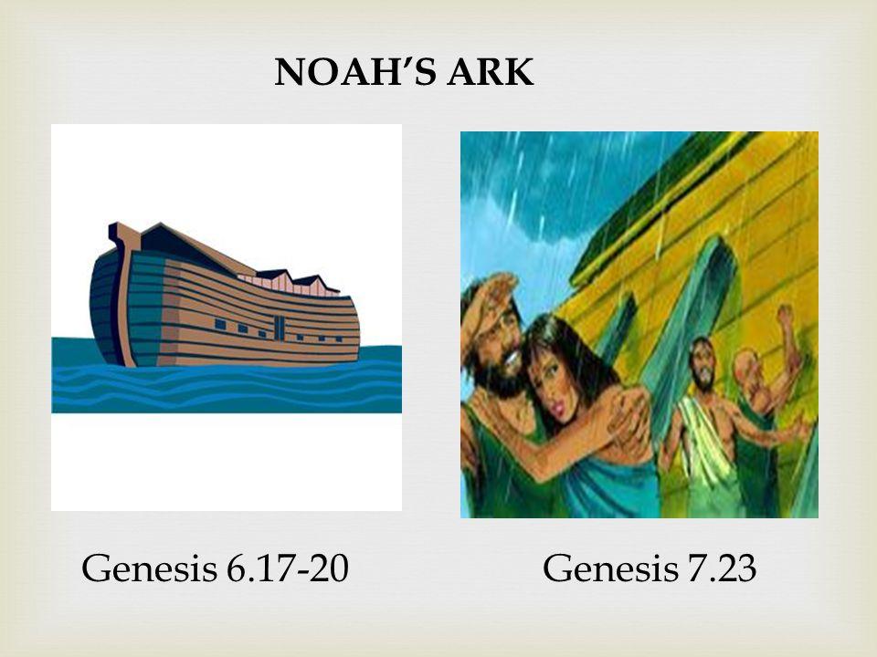 NOAH'S ARK Genesis 6.17-20Genesis 7.23