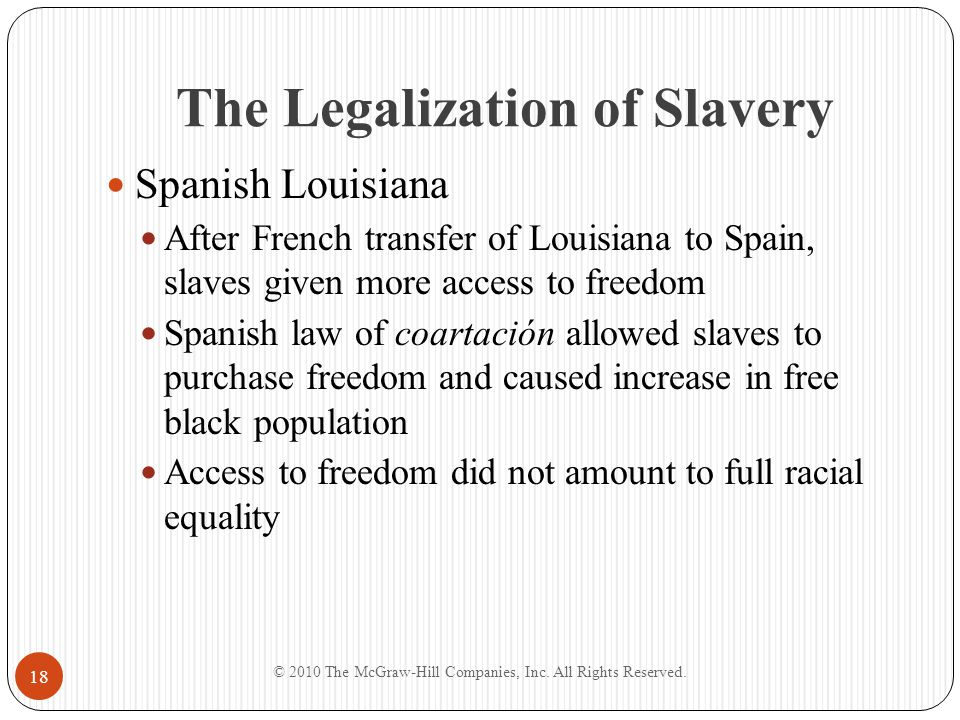 The Legalization of Slavery Spanish Louisiana After French transfer of Louisiana to Spain, slaves given more access to freedom Spanish law of coartaci
