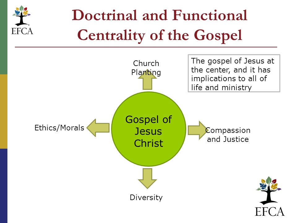Doctrinal and Functional Centrality of the Gospel Gospel of Jesus Christ Church Planting Compassion and Justice Diversity Ethics/Morals The gospel of Jesus at the center, and it has implications to all of life and ministry