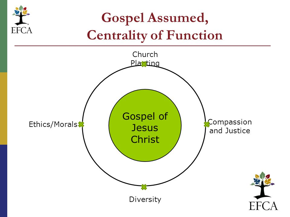 Gospel Assumed, Centrality of Function Gospel of Jesus Christ Church Planting Compassion and Justice Diversity Ethics/Morals