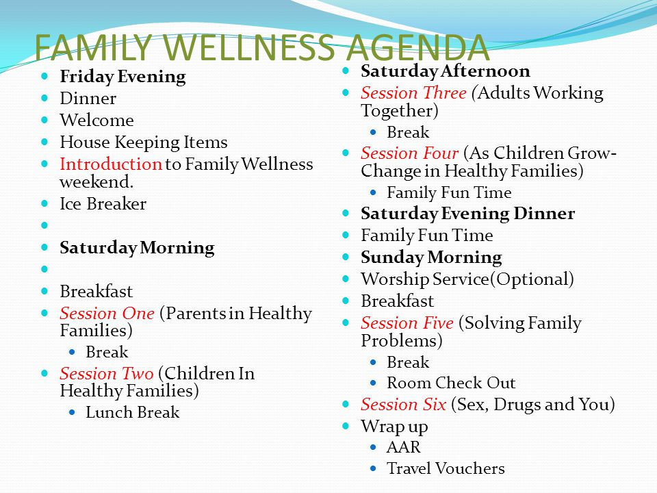 FAMILY WELLNESS AGENDA Friday Evening Dinner Welcome House Keeping Items Introduction to Family Wellness weekend.