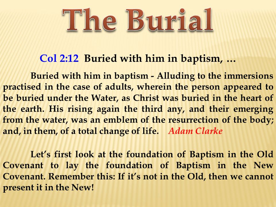 Col 2:12 Buried with him in baptism, … Buried with him in baptism - Alluding to the immersions practised in the case of adults, wherein the person appeared to be buried under the Water, as Christ was buried in the heart of the earth.
