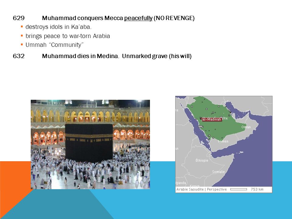 629 Muhammad conquers Mecca peacefully (NO REVENGE)  destroys idols in Ka'aba.