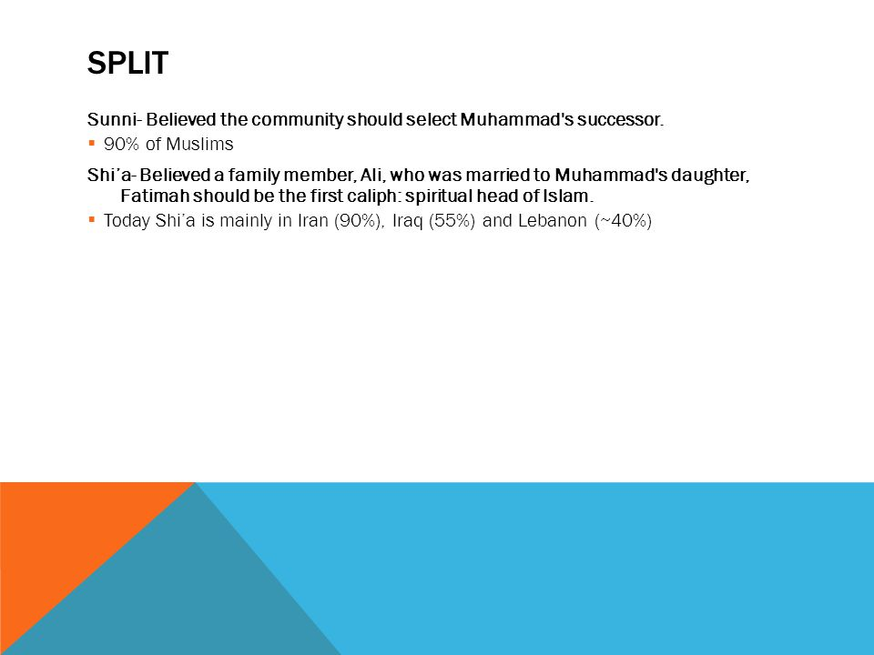 SPLIT Sunni- Believed the community should select Muhammad s successor.