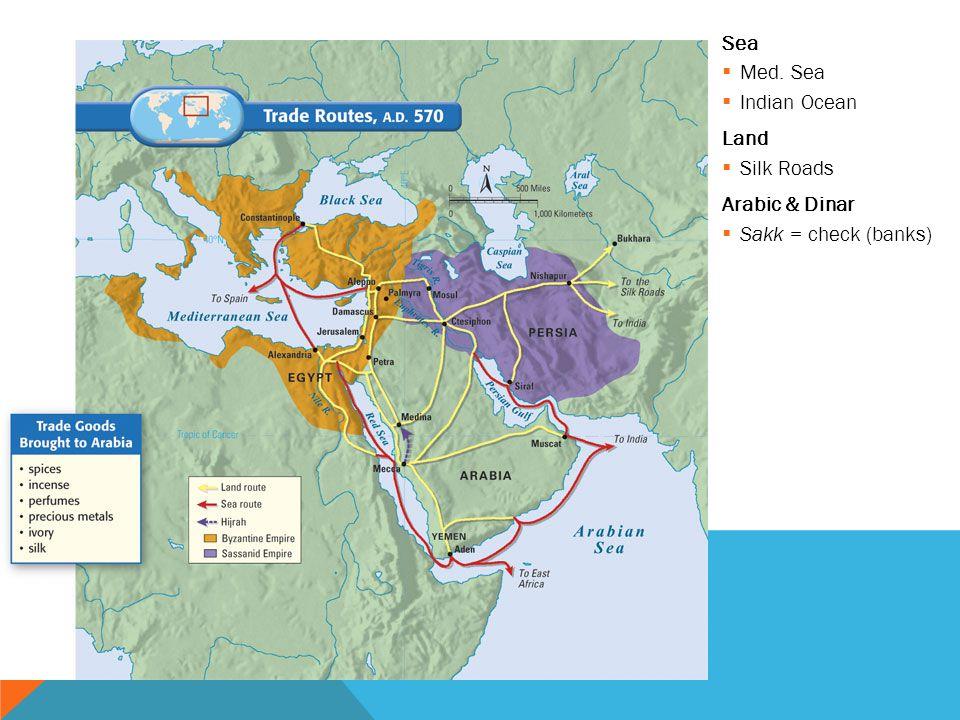 Sea  Med. Sea  Indian Ocean Land  Silk Roads Arabic & Dinar  Sakk = check (banks)