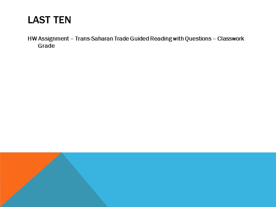 LAST TEN HW Assignment – Trans-Saharan Trade Guided Reading with Questions – Classwork Grade