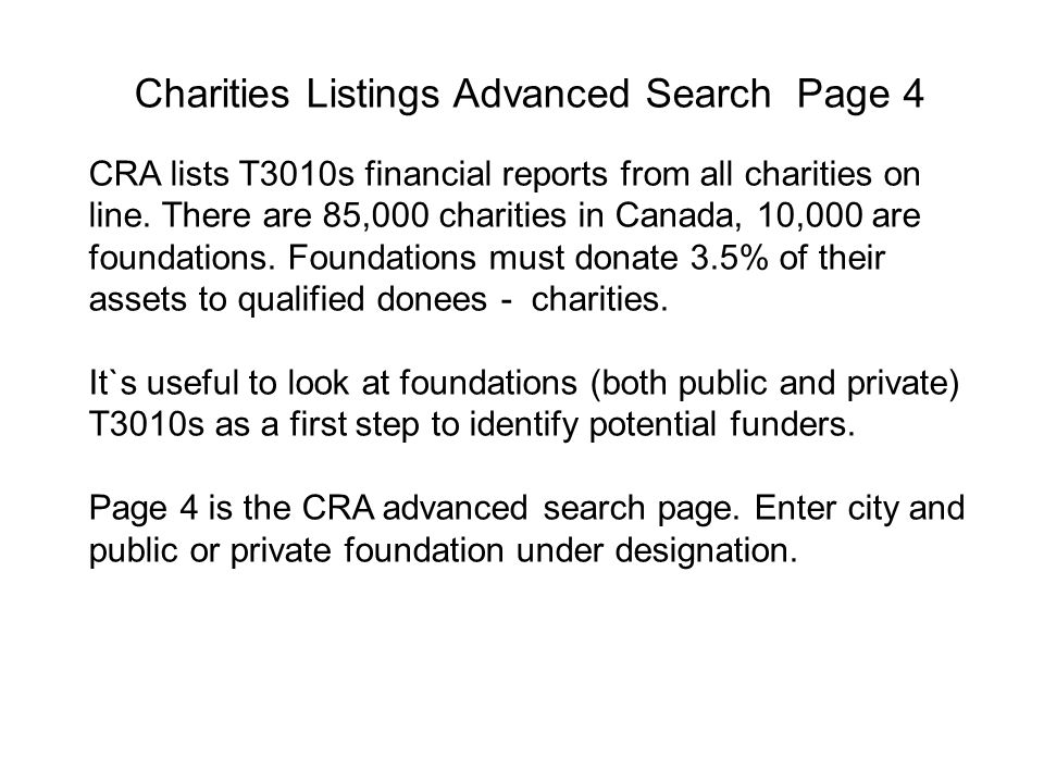 Charities Listings Advanced Search Page 4 CRA lists T3010s financial reports from all charities on line.