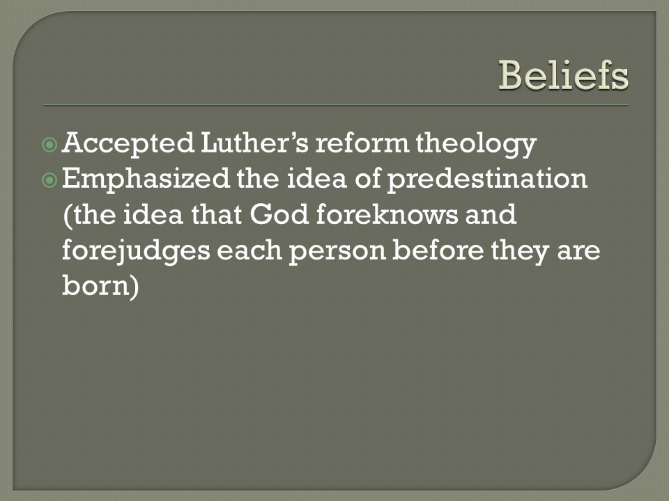  Accepted Luther's reform theology  Emphasized the idea of predestination (the idea that God foreknows and forejudges each person before they are born)