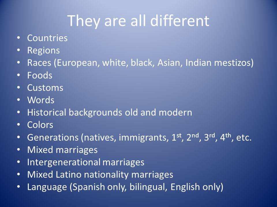 They are all different Countries Regions Races (European, white, black, Asian, Indian mestizos) Foods Customs Words Historical backgrounds old and modern Colors Generations (natives, immigrants, 1 st, 2 nd, 3 rd, 4 th, etc.