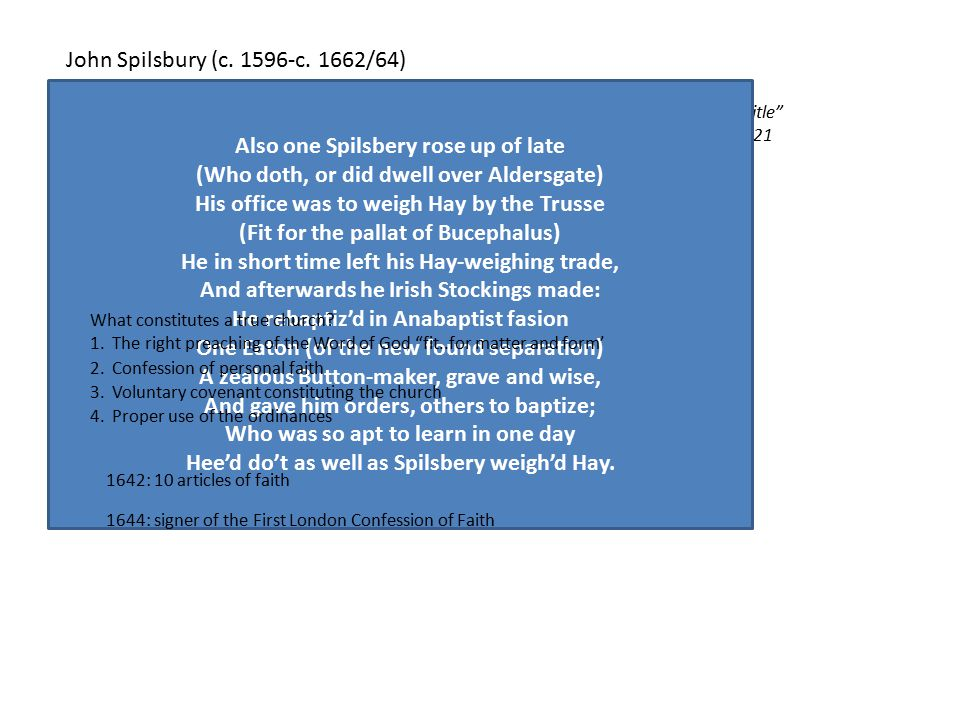 "John Spilsbury (c. 1596-c. 1662/64) ""Though few men may legitimately be called pioneers, John Spilsbury deserves that title"" James Renihan John Spilsb"