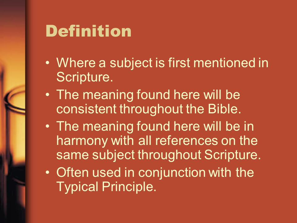 Definition Where a subject is first mentioned in Scripture.
