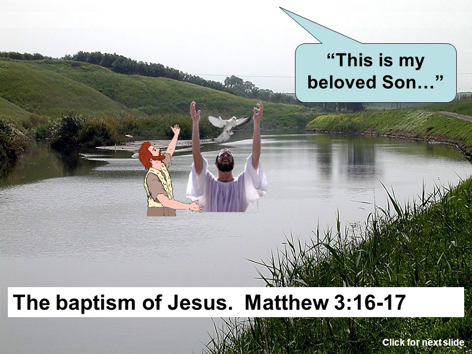 The reason for Jesus to be baptized. Matthew 3:15 That Jesus might illustrate his mission to die, be buried and raised the third day. Click for next s
