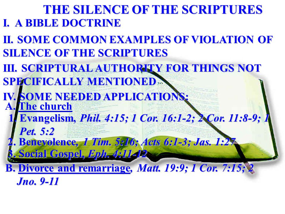 THE SILENCE OF THE SCRIPTURES I. A BIBLE DOCTRINE II.