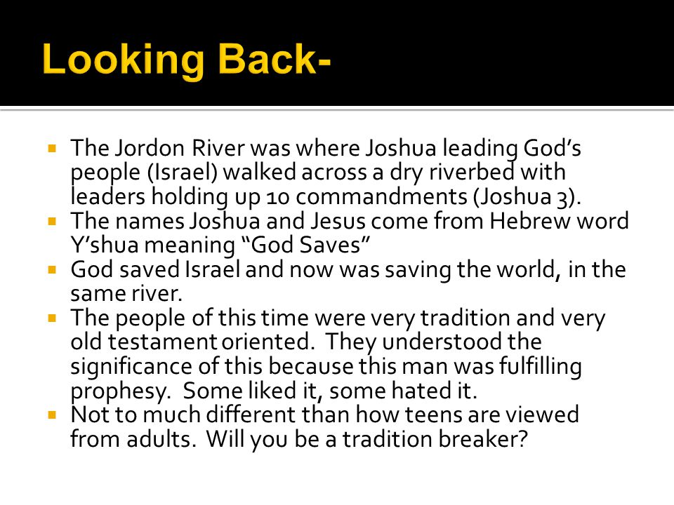  It fulfilled more OT prophesy (Isaiah 40, 41)  Brining in a new era of God's people being all people.