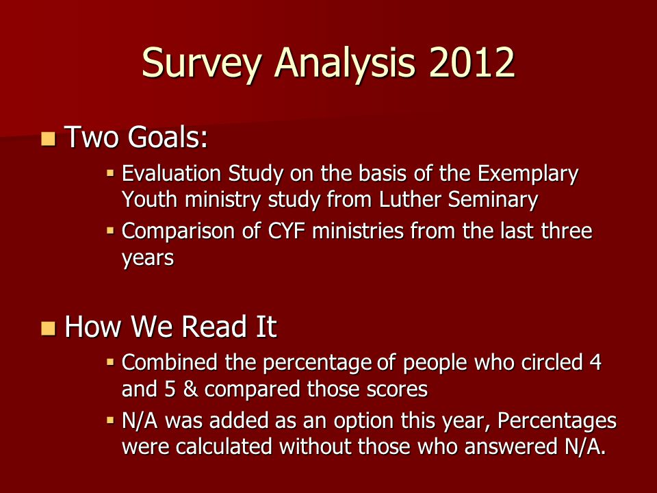 Survey Analysis 2012 Two Goals: Two Goals:  Evaluation Study on the basis of the Exemplary Youth ministry study from Luther Seminary  Comparison of