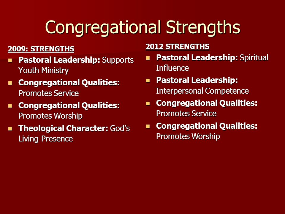 Congregational Strengths 2009: STRENGTHS Pastoral Leadership: Supports Youth Ministry Pastoral Leadership: Supports Youth Ministry Congregational Qual