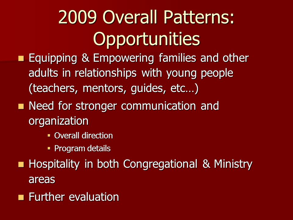 Congregational Strengths 2009: STRENGTHS Pastoral Leadership: Supports Youth Ministry Pastoral Leadership: Supports Youth Ministry Congregational Qualities: Promotes Service Congregational Qualities: Promotes Service Congregational Qualities: Promotes Worship Congregational Qualities: Promotes Worship Theological Character: God's Living Presence Theological Character: God's Living Presence 2012 STRENGTHS Pastoral Leadership: Spiritual Influence Pastoral Leadership: Spiritual Influence Pastoral Leadership: Interpersonal Competence Pastoral Leadership: Interpersonal Competence Congregational Qualities: Promotes Service Congregational Qualities: Promotes Service Congregational Qualities: Promotes Worship Congregational Qualities: Promotes Worship