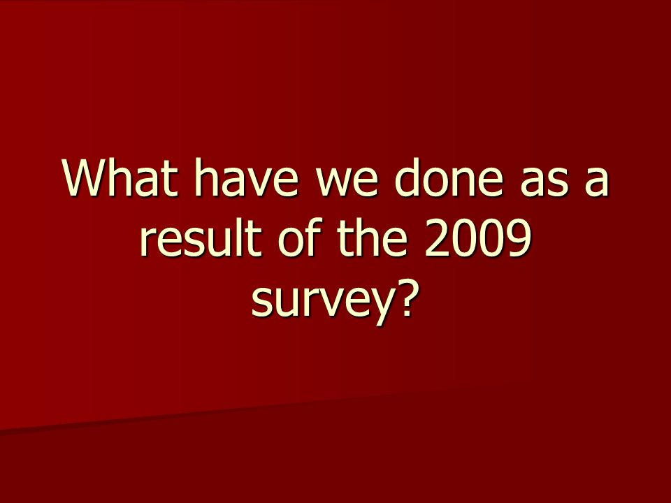 What have we done as a result of the 2009 survey