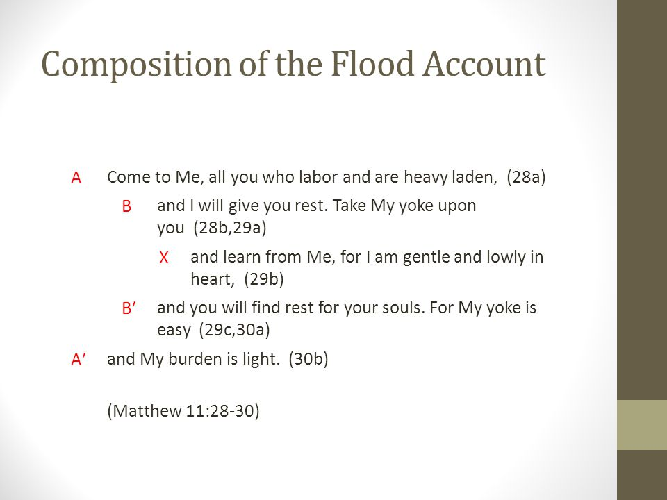 Composition of the Flood Account A Come to Me, all you who labor and are heavy laden, (28a) B and I will give you rest.