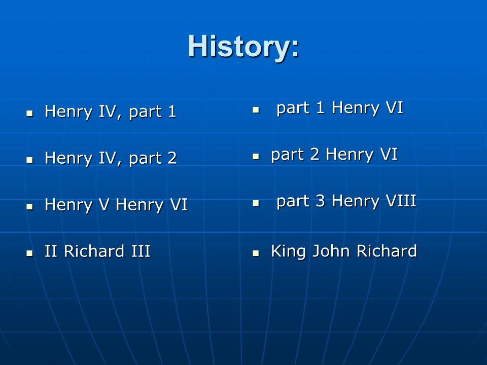 History: Henry IV, part 1 Henry IV, part 1 Henry IV, part 2 Henry IV, part 2 Henry V Henry VI Henry V Henry VI II Richard III II Richard III part 1 Henry VI part 1 Henry VI part 2 Henry VI part 2 Henry VI part 3 Henry VIII part 3 Henry VIII King John Richard King John Richard