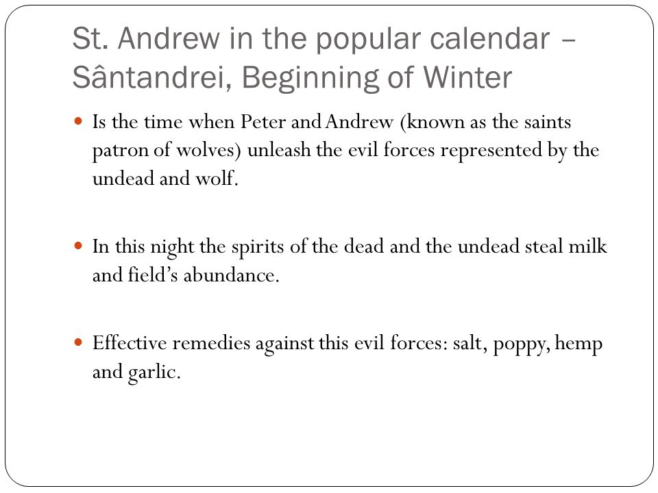 Night of the living dead Saint Andrew's Eve (29th November)