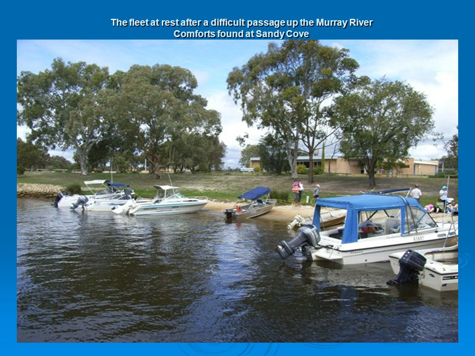 The fleet at rest after a difficult passage up the Murray River Comforts found at Sandy Cove