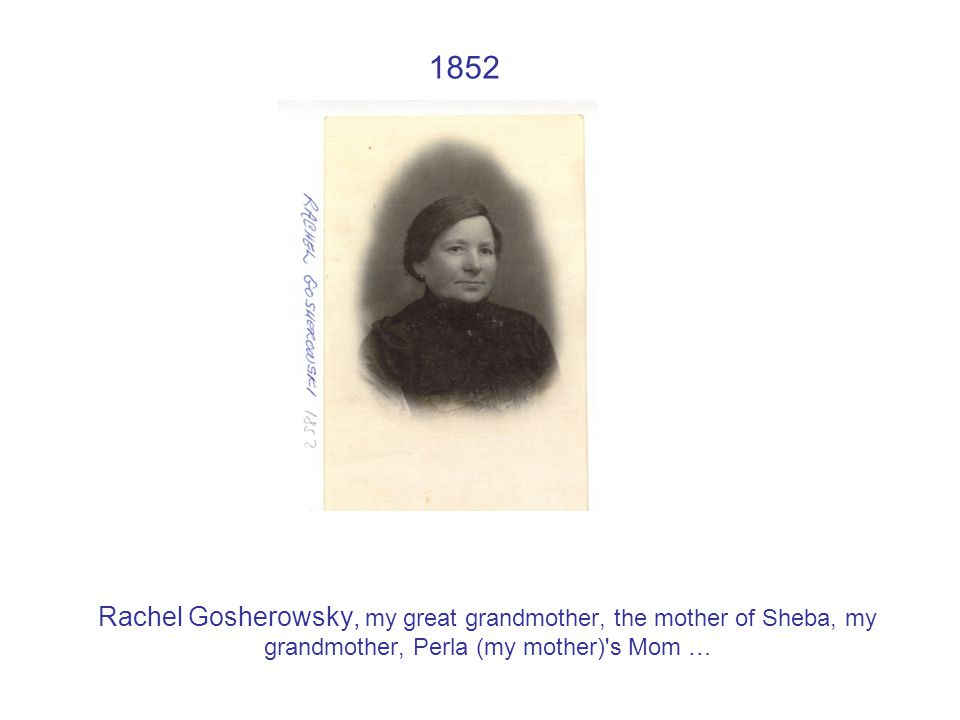 1852 Rachel Gosherowsky, my great grandmother, the mother of Sheba, my grandmother, Perla (my mother) s Mom …