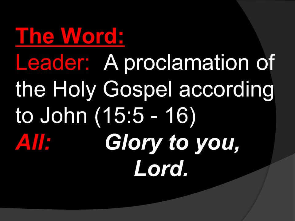 The Word: Leader:A proclamation of the Holy Gospel according to John (15:5 - 16) All:Glory to you, Lord.